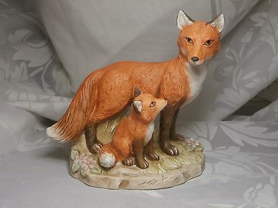 Home Interiors Porcelain Mother & Baby Red Fox Figurine #1417 Homco
