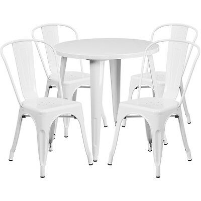 30'' Round White Metal Indoor-Outdoor Table Set With 4 Cafe Chairs