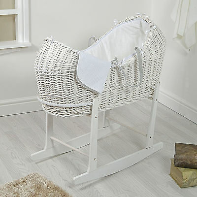 4Baby White Wicker / White Waffle Padded Snooze Pod Moses Basket & Rocking Stand