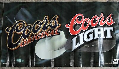 Coors  and Coors Light Beer Banner Western Hats Man Cave Art