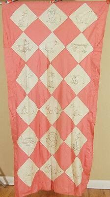 CHEERY Vintage 30's Embroidered Animals Antique Quilt Top ~BEAUTIFUL!