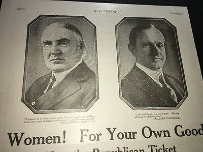 1920 Presidential Election Ad Women Vote Republican Harding Coolidge RNC