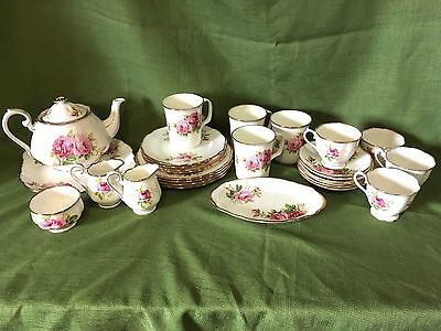 Royal Albert Bone China American Beauty Luncheon Tea 4 Service Table Set Englan