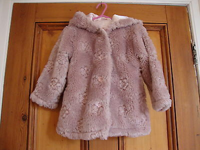Debenhams.  Pink Flower Faux Fur Hooded Coat Lined. Age 18/24 Months