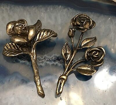 Beautiful Pair/Lot of Hand Crafted Sterling Silver Miniature Flowers Rose - L405