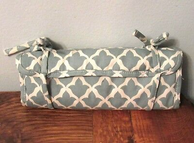 POTTERY BARN GREEN Blue White MULTI TRAVEL JEWELRY ROLL CASE w pockets NICE