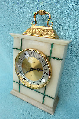 Vintage Elsinor 8 Day Marble And Malachite Inlaid Mantel Clock