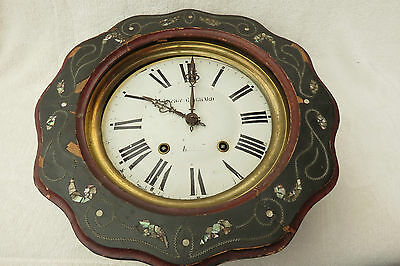 Antique French 8 Day Striking Vineyard Clock For Spares Or Repair • £95.00
