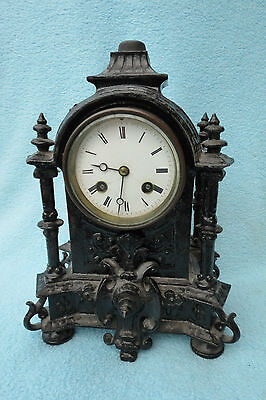 Antique French Bell Strike 8 Day Spelter Clock For Restoration