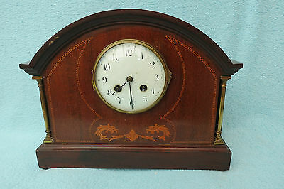 Antique Mahogany Inlaid Japy Freres Striking Mantel Clock For Tlc