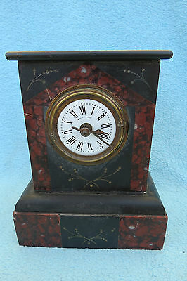 Vintage Petite Black Slate And Marble Bayard Alarm Clock For Spares Or Repair