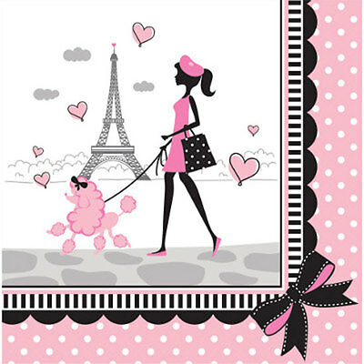 """Pink & Black """"Party in Paris"""" Eiffel Tower & Poodle LUNCH DINNER NAPKINS"""