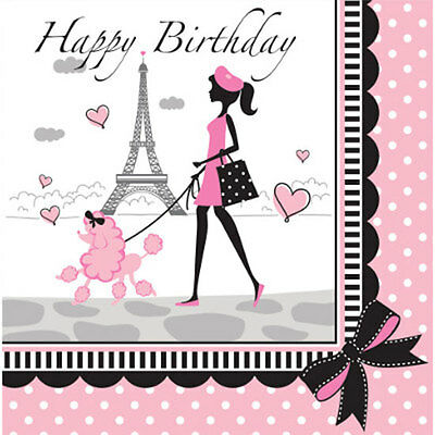 """Pink & Black """"Party in Paris"""" Eiffel Tower, Poodle BIRTHDAY LUNCH DINNER NAPKINS"""