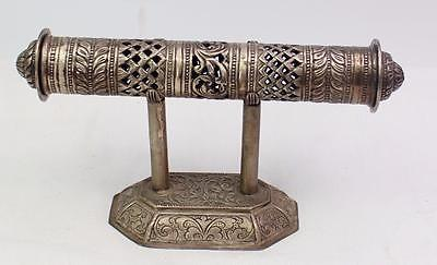 Antique Vintage Persian Middle Eastern Silver Scroll Holder & Stand Signed RA
