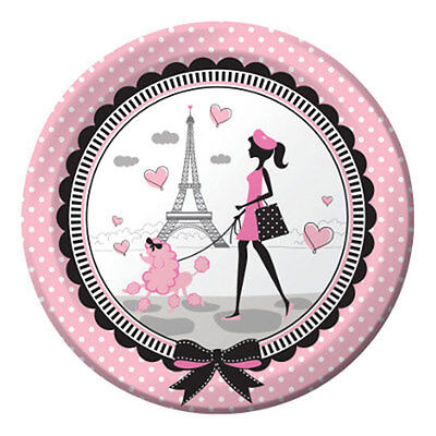 """Pink & Black """"Party in Paris"""" Eiffel Tower & Poodle LUNCH DINNER PLATES"""