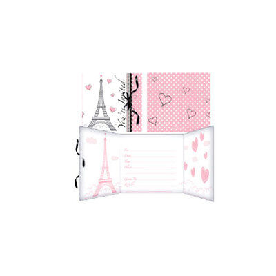 """Pink & Black """"Party in Paris"""" Eiffel Tower & Poodle INVITATION INVITE CARDS"""
