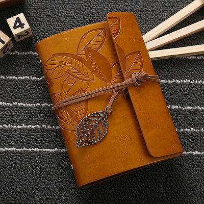 Vintage Notebook Diary String Leaf Travel Leather Restor Journal Book Sketchbook