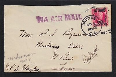 Canal Zone Usa 1930 Airmail Cover Cristobal To El Paso Texas