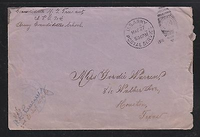 Usa 1918 Army Candidates School Aef Censored Cover #714 To Houston Texas