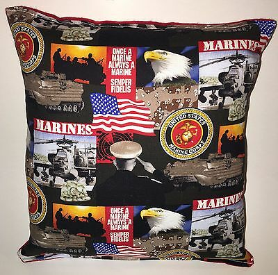 Marines Pillow United States Marines Pillow Patriot Pillow HANDMADE in USA