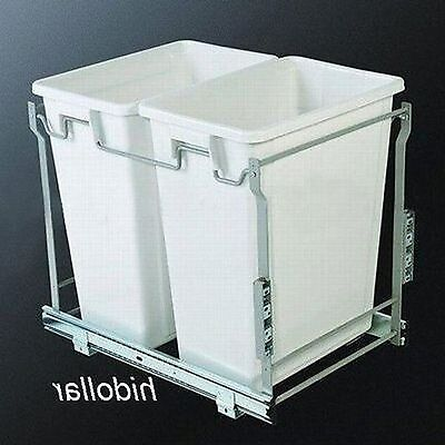 Door Mountable 70L Kitchen Laundry Concealed Bin Dual Pullout Pull Out Sliding