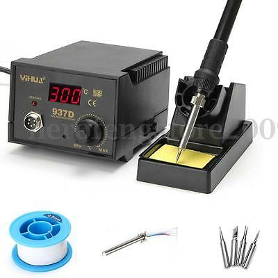937D+ 75W Digital Display Soldering Iron Station 4 Tip Lead Welding Tool Kit