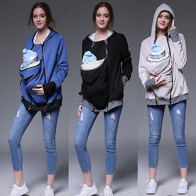 S-XXL Baby Carrier Jacket Casual Autumn Winter Hooded Zipper Coat Pregant Women