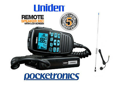 Uniden UH8060S REMOTE LCD SPEAKER MIC UHF CB Radio 5W + Stainless Steel Antenna