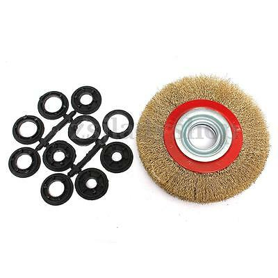6″ 150mm Steel Wire Wheel Brush W/ Adaptor Rings For Bench Grinder Grind Polish