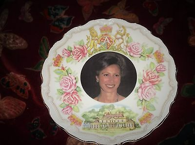 Collectable Gilded Display Plate Goss China Ltd Ed 40Th Birthday Anne John Ball
