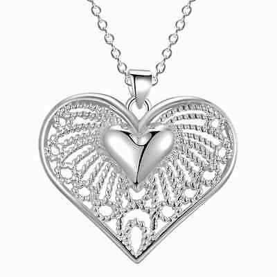 925 silver wedding Party Fashion charms Heart cute women Necklace Jewelry NEW