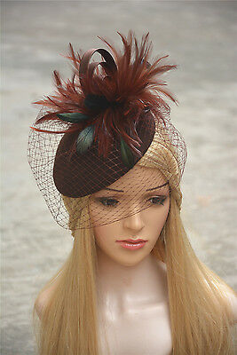 T167 Ladies feather Veil Felt Wool Fascinator Royal Ascot Wedding bridal Hat
