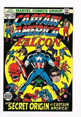 Captain America # 155  Cap's Secret Origin  - grade 8.5 scarce hot book !!