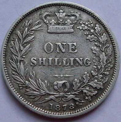 Shilling Victoria Young Head 1878 Die Number 74 .925 Silver