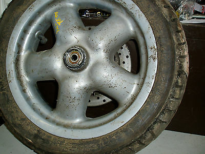 yamaha teos mbk doodo 125  front wheel disc and metzeler tyre complete 120/70-12