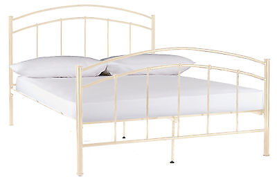 Valencia Metal King Bed Frame In Gloss Cream