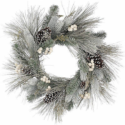 60cm Christmas White Berries & Pine Cones Wreath Door Wall Table Decoration