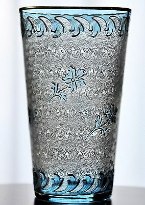 """Baccarat St Louis Gold Detail Light Blue Acid Etch Cameo Cut to Clear Glass 3"""""""