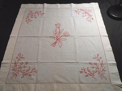 """Vintage Turkey Red Hand Embroidered Lay Over Euro Pillow Sham 29""""x31"""",tulips"""