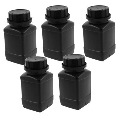 5pcs 250ml Plastic Round Wide Mouth Chemical Sample Sealed Reagent Bottle Black