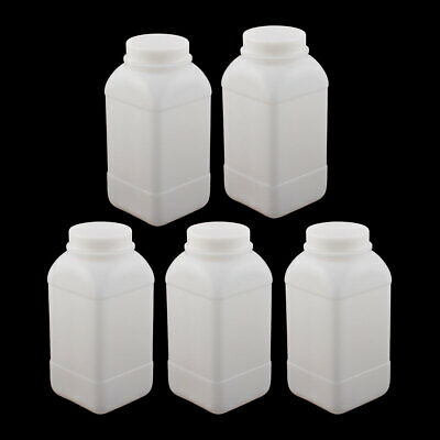 5Pcs 1000ml Plastic Square Wide Mouth Chemical Sample Reagent Bottle