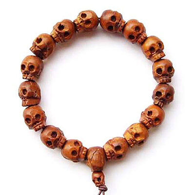Large Wooden Wood Carved SKULL Beaded Tibetan BRACELET