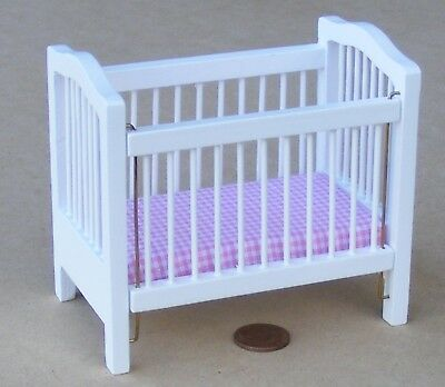 1:12 Scale Drop Sided White Cot Dolls House Miniature Nursery Accessory 1441