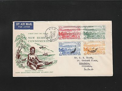 New Hebrides Air First Day Various Island Scenes 1957 Cover 5q