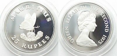 MAURITIUS 25 Rupees 1975 BUTTERFLY silver Proof # 95161