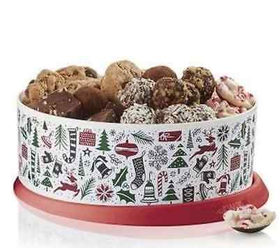 """Tupperware Holiday Christmas 9.5"""" One-Touch Round Cookie Canister Container NEW"""