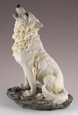 "Wolf Howling Figurine Resin 8"" High - Highly Detailed - New In Box"