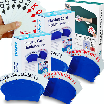 Set of 4 Playing Card Holders Inc Playing Cards and Dominoes Bridge Poker Game
