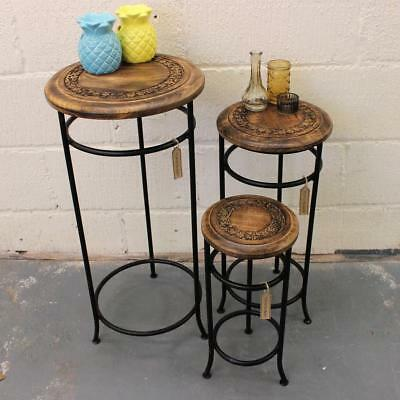 Handmade Set of 3 Occasional Tables Mango Wood and Iron Plant Stand Side Table