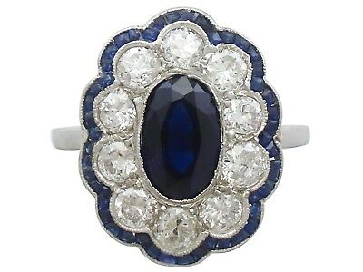 1.66 ct Sapphire and 1.60 ct Diamond Platinum Cluster Ring Vintage French
